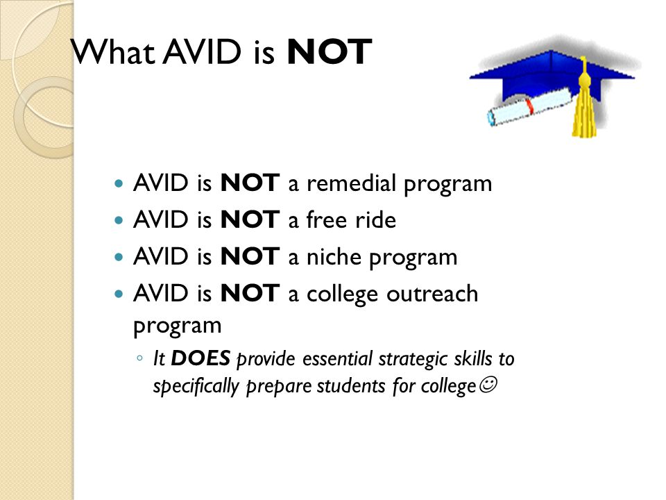 What AVID is NOT What AVID is NOT AVID is NOT a remedial program AVID is NOT a free ride AVID is NOT a niche program AVID is NOT a college outreach program ◦ It DOES provide essential strategic skills to specifically prepare students for college