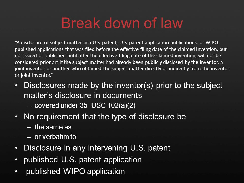 Break down of law U.S. patents U.S.