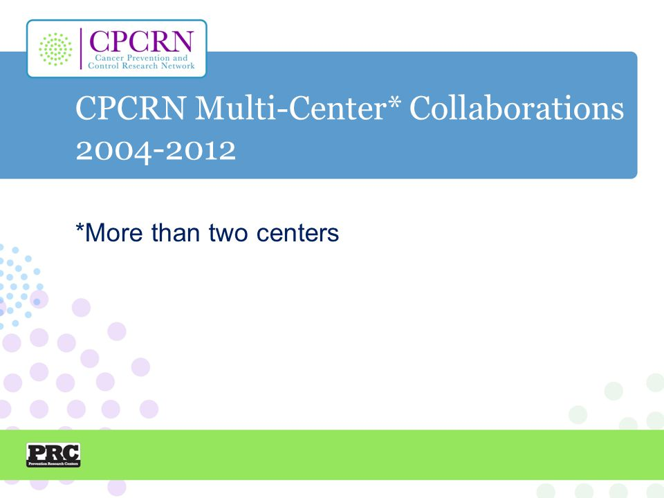 CPCRN Multi-Center* Collaborations 2004-2012 *More than two centers