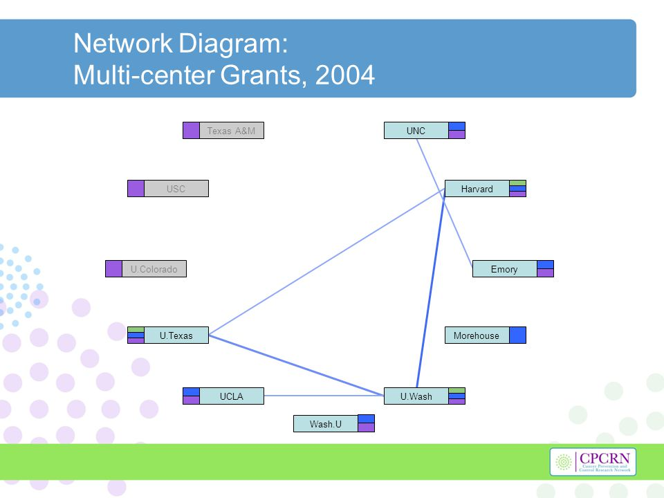 Network Diagram: Multi-center Grants, 2004 Harvard U.Texas U.WashUCLA UNC Morehouse Emory Wash.U Texas A&M USC U.Colorado