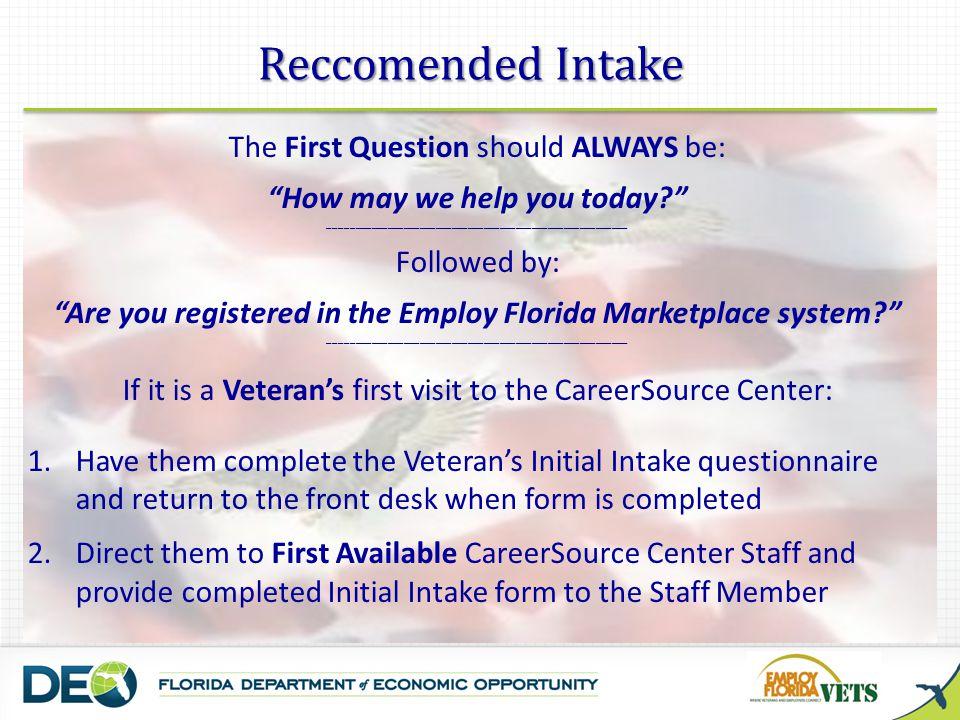 """Reccomended Intake The First Question should ALWAYS be: """"How may we help you today?"""" ________________________________________________________ Followed"""