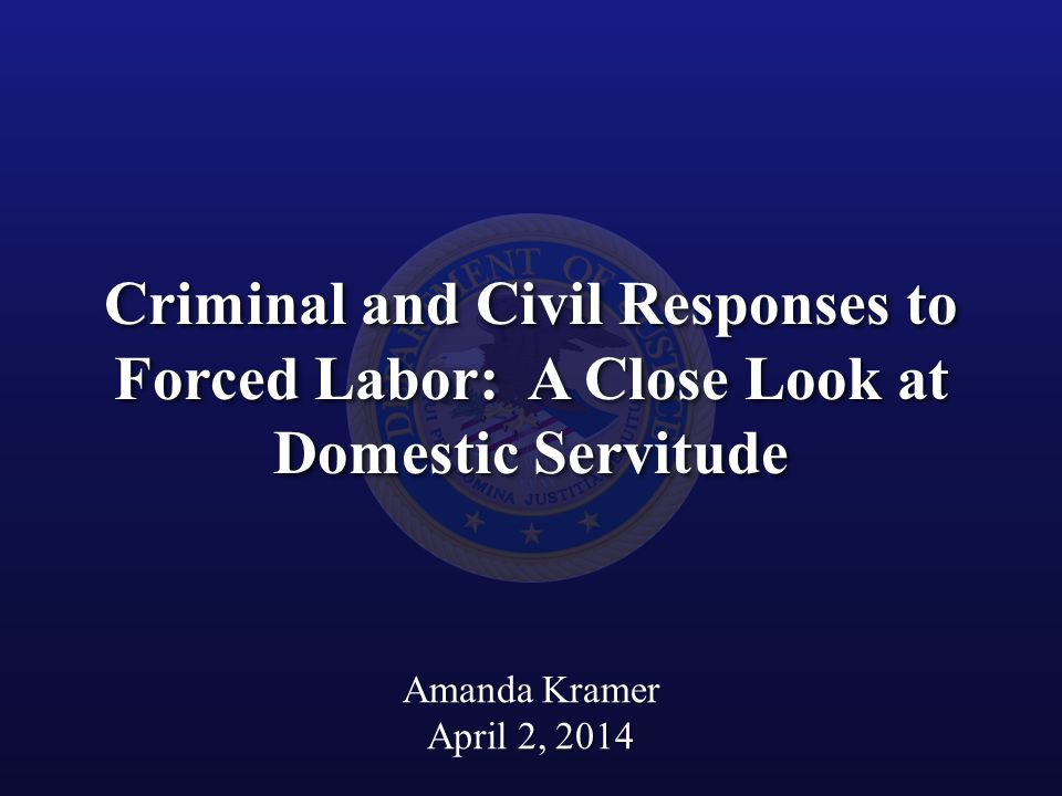 Criminal and Civil Responses to Forced Labor: A Close Look at Domestic Servitude Amanda Kramer April 2, 2014