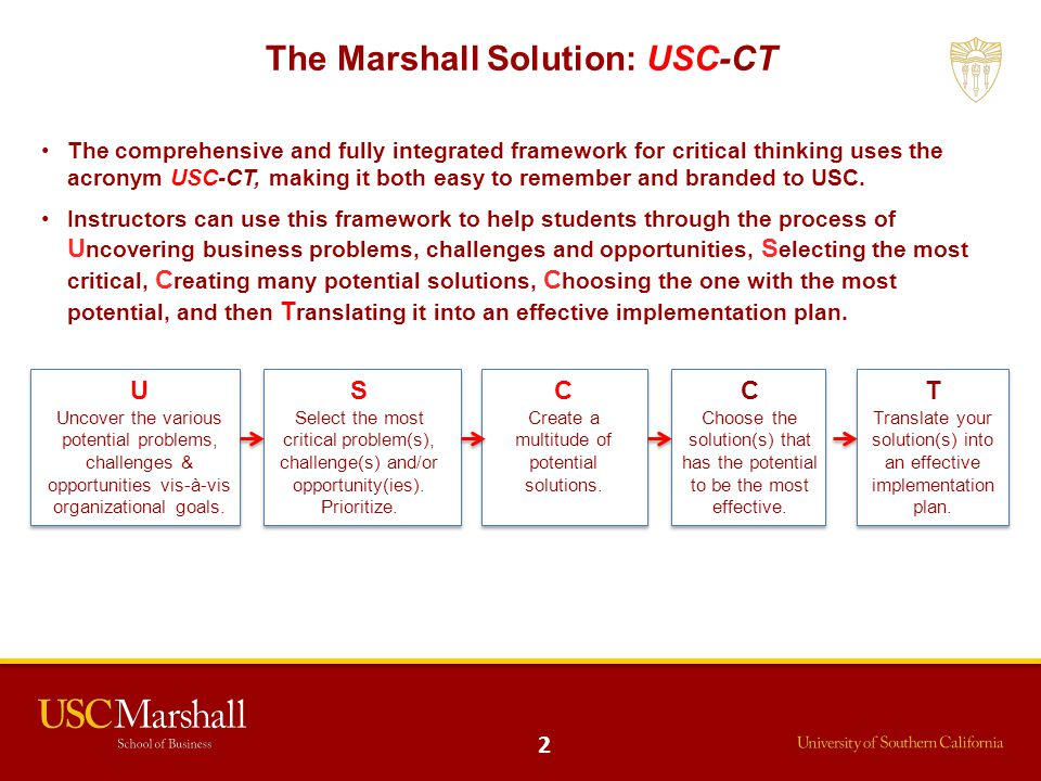 The Marshall Solution: USC-CT The comprehensive and fully integrated framework for critical thinking uses the acronym USC-CT, making it both easy to r