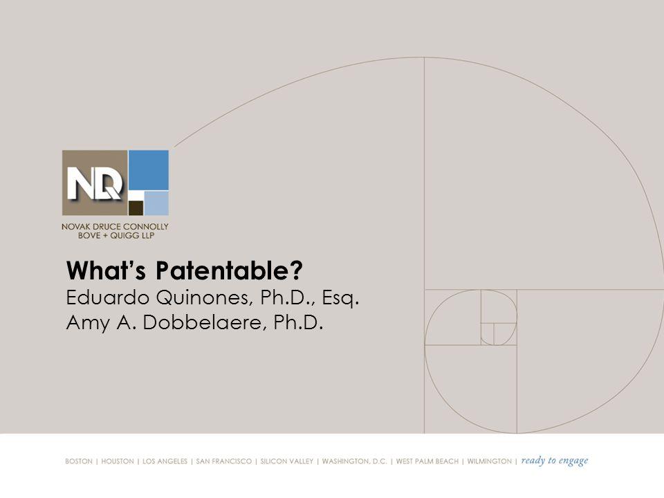 What's Patentable Eduardo Quinones, Ph.D., Esq. Amy A. Dobbelaere, Ph.D.
