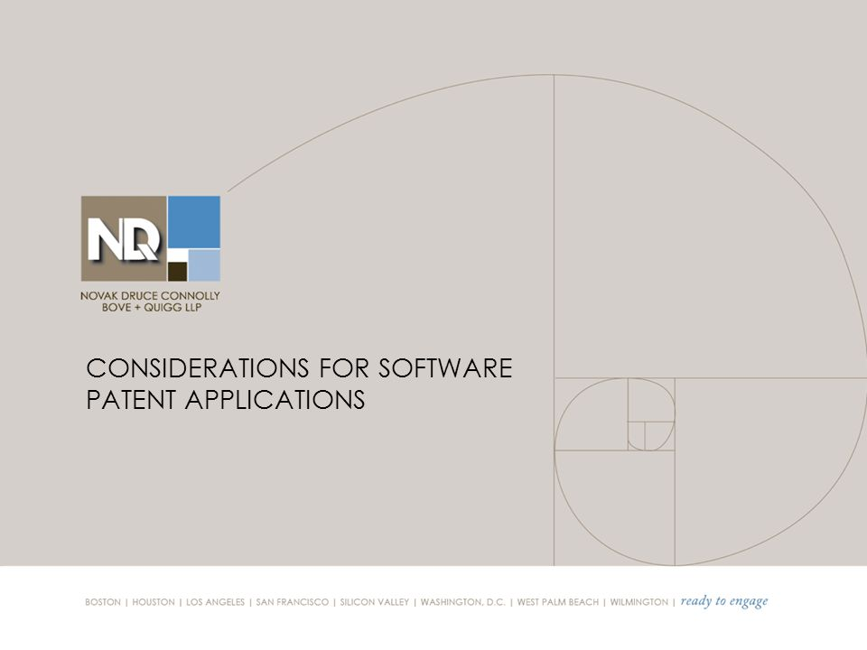CONSIDERATIONS FOR SOFTWARE PATENT APPLICATIONS