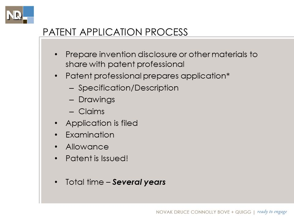 Description and Drawings: – Operating Environment – Particular/specialized components – Flow charts for each process – General Computer description/schematic Claims – Method – Computer-Product Claims – System Claims TYPICAL SOFTWARE-BASED PATENT