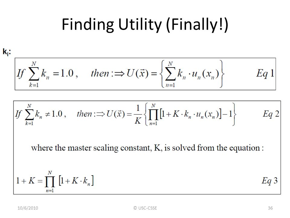 Finding Utility (Finally!) 10/6/2010© USC-CSSE36