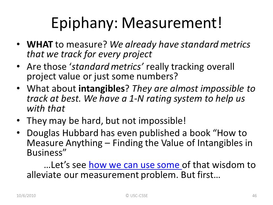 Epiphany: Measurement! WHAT to measure? We already have standard metrics that we track for every project Are those 'standard metrics' really tracking