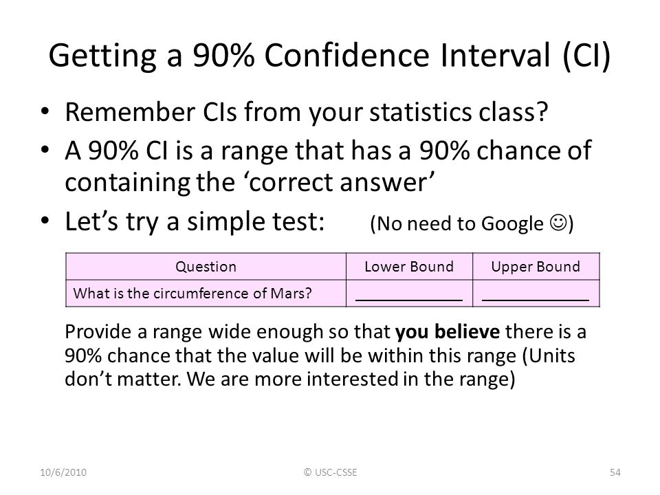Getting a 90% Confidence Interval (CI) Remember CIs from your statistics class? A 90% CI is a range that has a 90% chance of containing the 'correct a