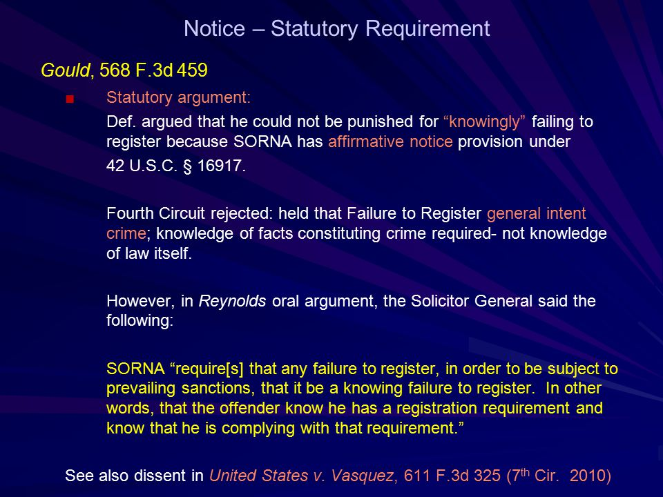Notice – Statutory Requirement Gould, 568 F.3d 459 ■Statutory argument: Def.
