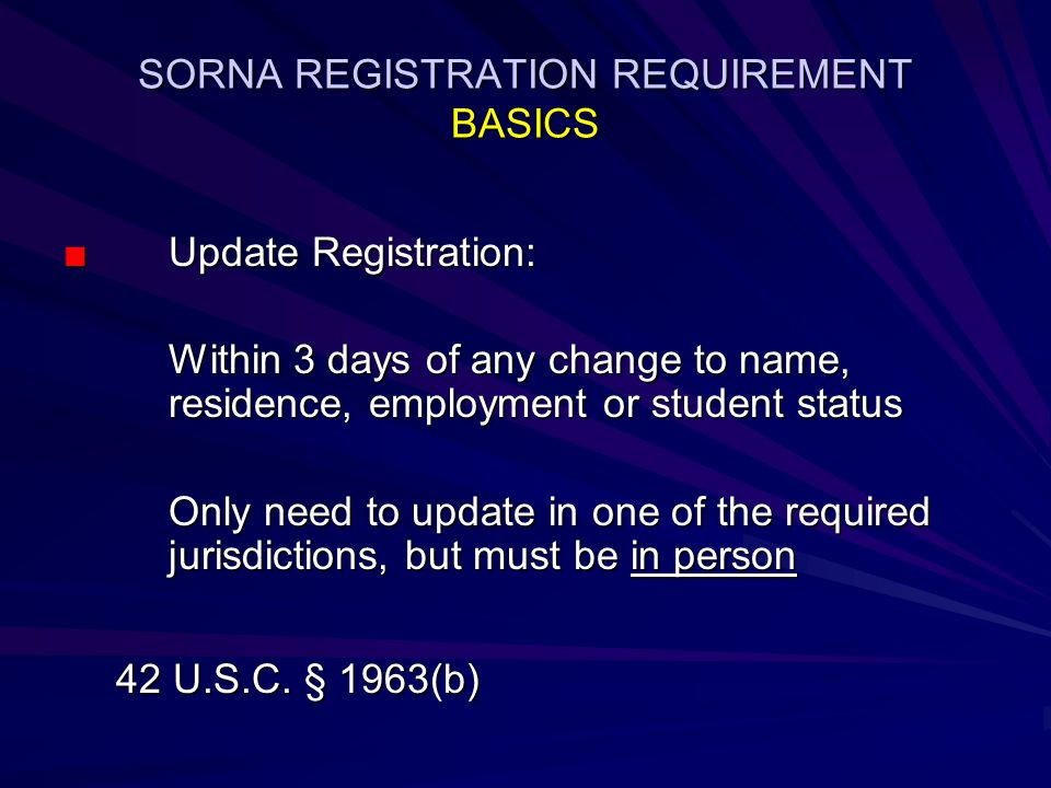 SORNA REGISTRATION REQUIREMENT BASICS ■Update Registration: Within 3 days of any change to name, residence, employment or student status Only need to update in one of the required jurisdictions, but must be in person 42 U.S.C.