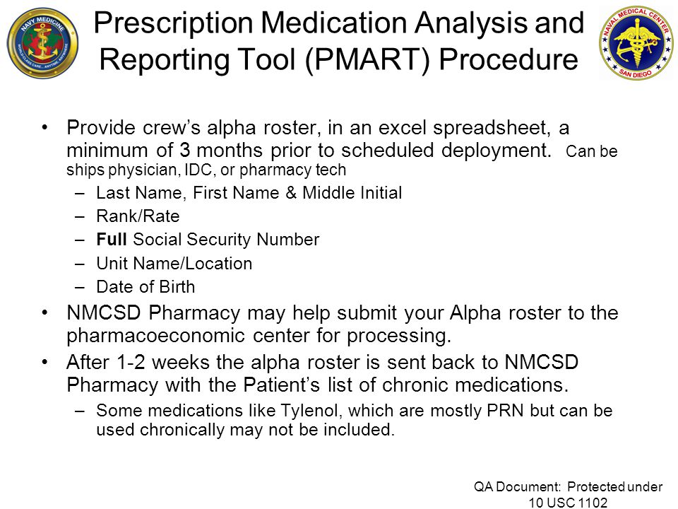 Prescription Medication Analysis and Reporting Tool (PMART) Procedure Provide crew's alpha roster, in an excel spreadsheet, a minimum of 3 months prio