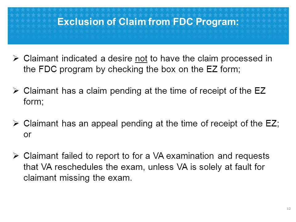 Exclusion of Claim from FDC Program: 12  Claimant indicated a desire not to have the claim processed in the FDC program by checking the box on the EZ