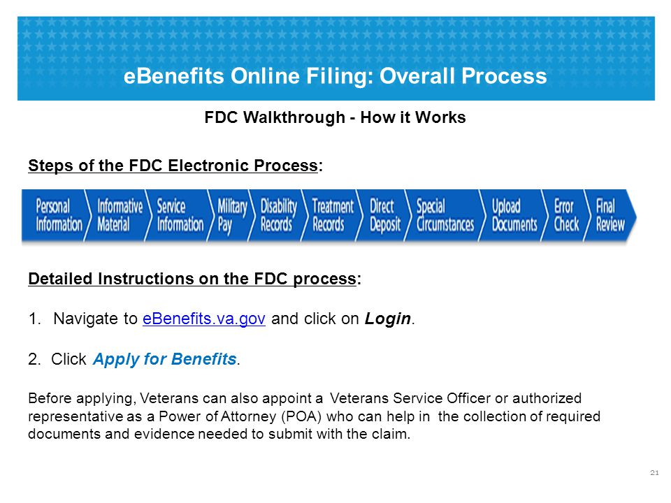 eBenefits Online Filing: Overall Process FDC Walkthrough - How it Works Steps of the FDC Electronic Process: Detailed Instructions on the FDC process: 1.Navigate to eBenefits.va.gov and click on Login.eBenefits.va.gov 2.