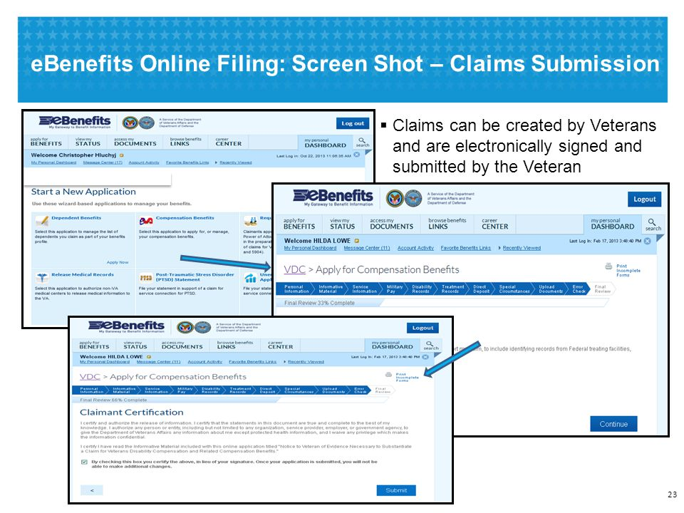  Claims can be created by Veterans and are electronically signed and submitted by the Veteran eBenefits Online Filing: Screen Shot – Claims Submission 23