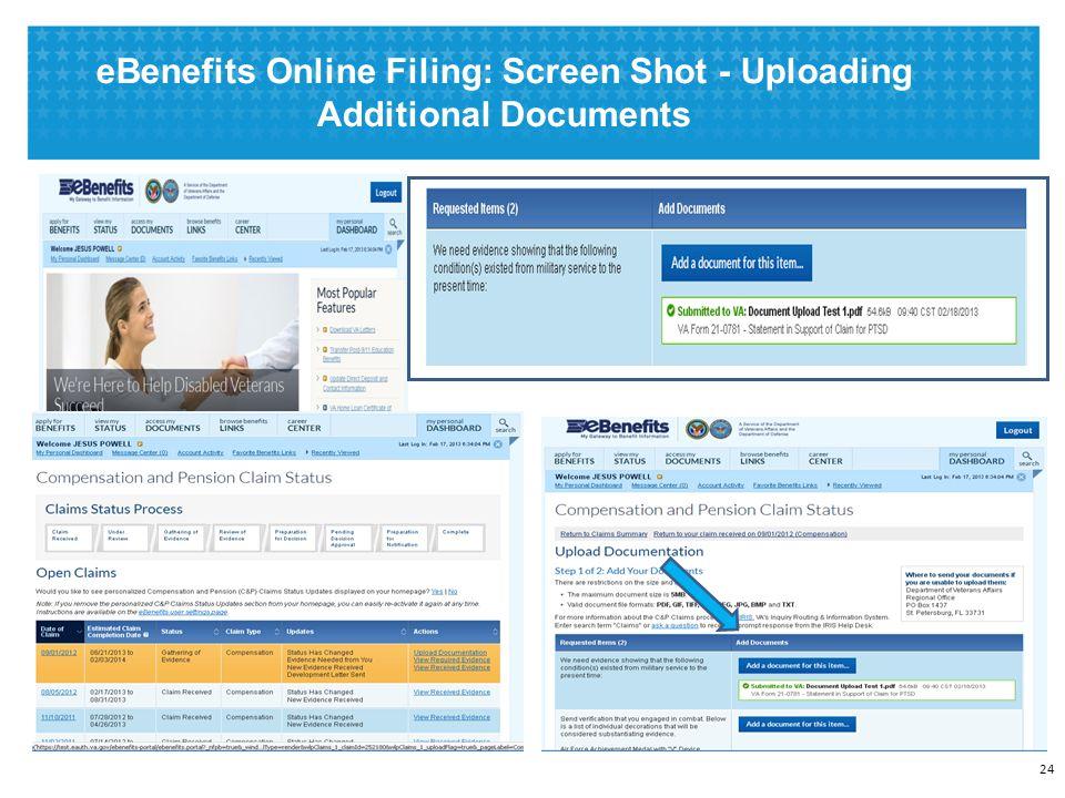 eBenefits Online Filing: Screen Shot - Uploading Additional Documents 24