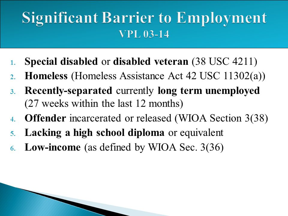 1. Special disabled or disabled veteran (38 USC 4211) 2. Homeless (Homeless Assistance Act 42 USC 11302(a)) 3. Recently-separated currently long term