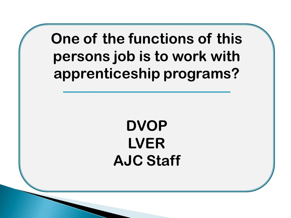 One of the functions of this persons job is to work with apprenticeship programs? DVOP LVER AJC Staff