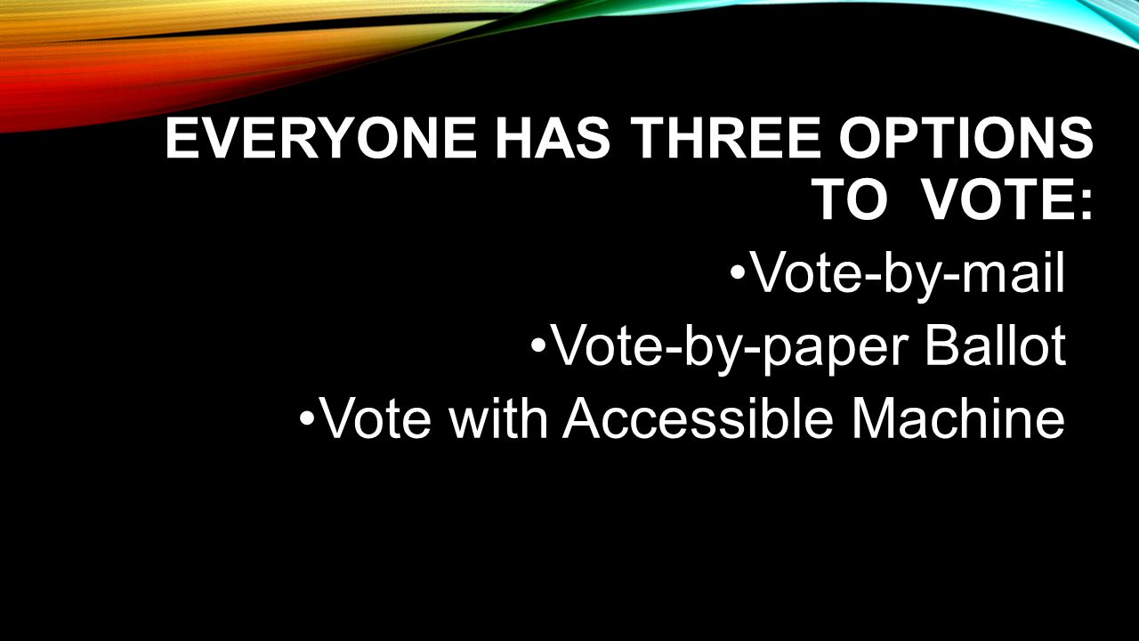NOT EVERYONE CAN VOTE SECRETLY AND INDEPENDENTLY BY MAIL Dexterity impairments Visual impairments Learning impairments