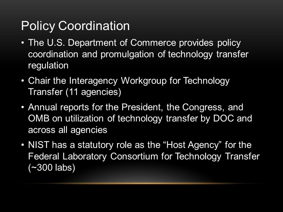 Policy Coordination The U.S.