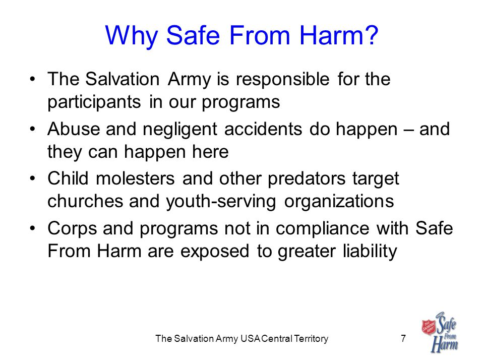 The Salvation Army USA Central Territory7 Why Safe From Harm.