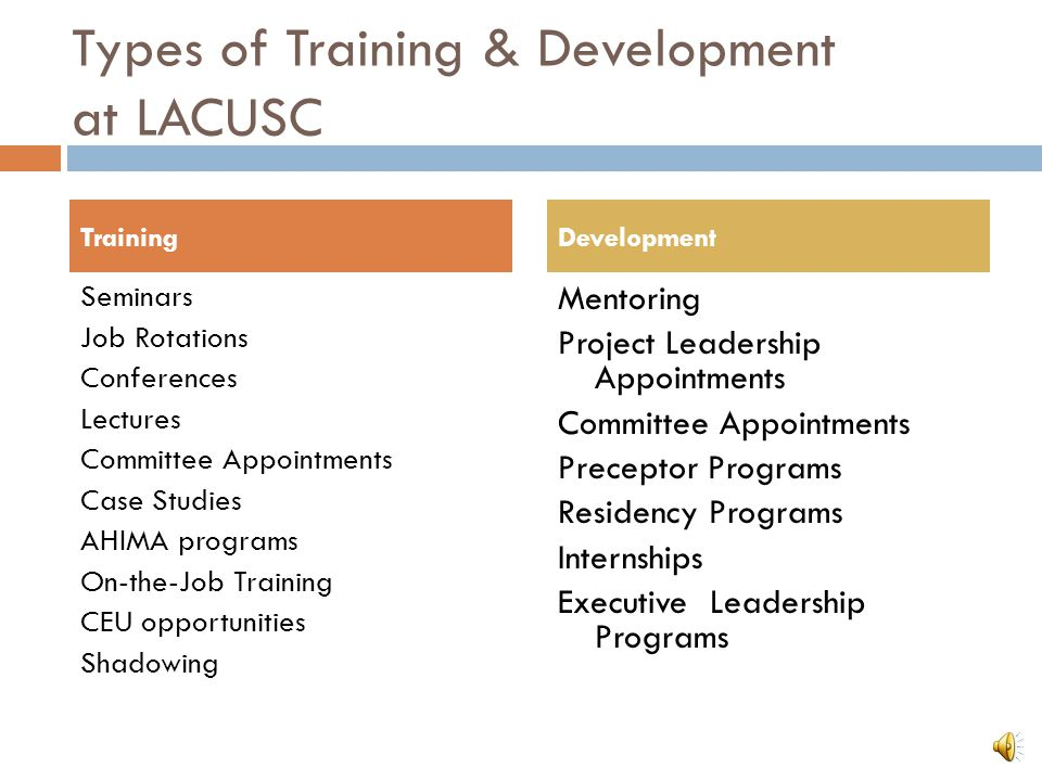 Types of Training & Development at LACUSC Seminars Job Rotations Conferences Lectures Committee Appointments Case Studies AHIMA programs On-the-Job Tr