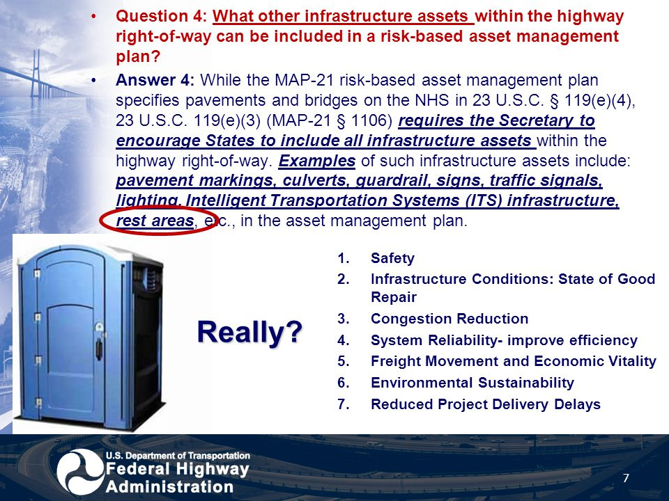 Question 4: What other infrastructure assets within the highway right-of-way can be included in a risk-based asset management plan? Answer 4: While th