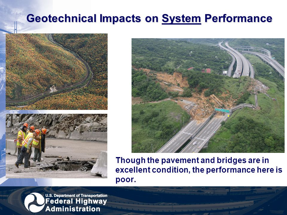 Geotechnical Impacts on System Performance Though the pavement and bridges are in excellent condition, the performance here is poor.
