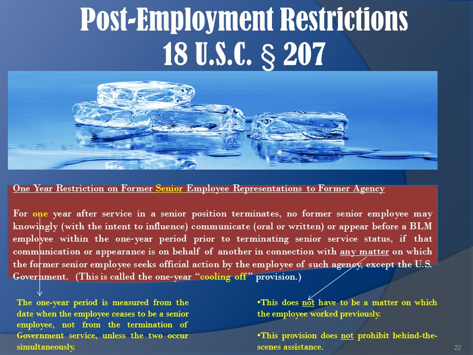 Post-Employment Restrictions 18 U.S.C. § 207 22 This does not have to be a matter on which the employee worked previously. This provision does not pro