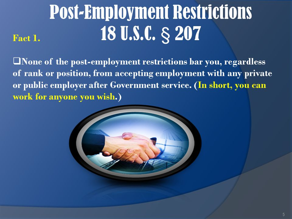 Post-Employment Restrictions 18 U.S.C.
