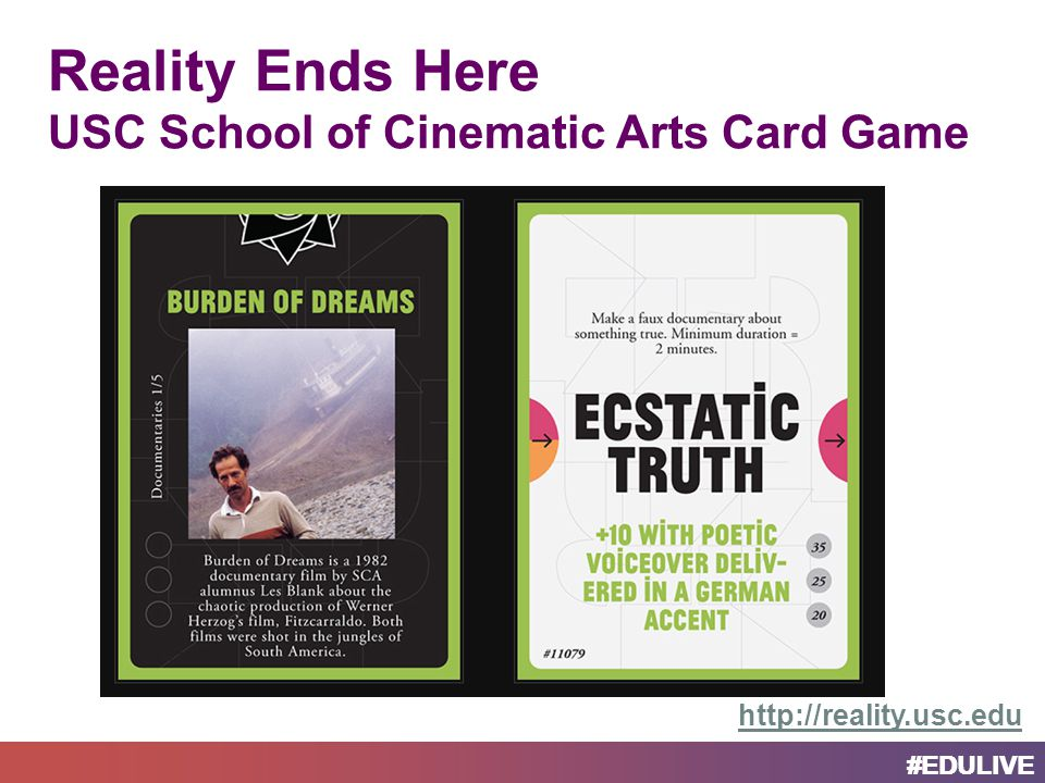 Reality Ends Here USC School of Cinematic Arts Card Game http://reality.usc.edu