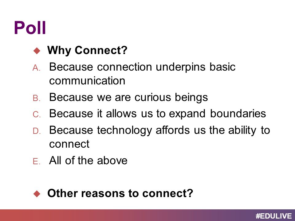 #EDULIVE Learning Connections Examples 1.