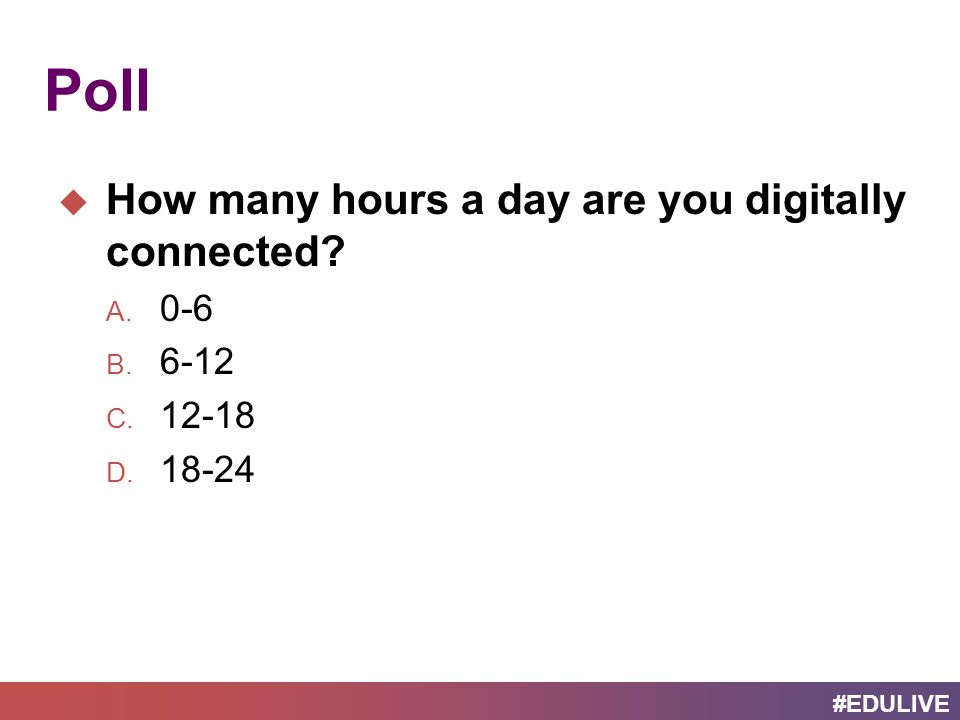 #EDULIVE Poll  How many hours a day are you digitally connected A. 0-6 B. 6-12 C. 12-18 D. 18-24