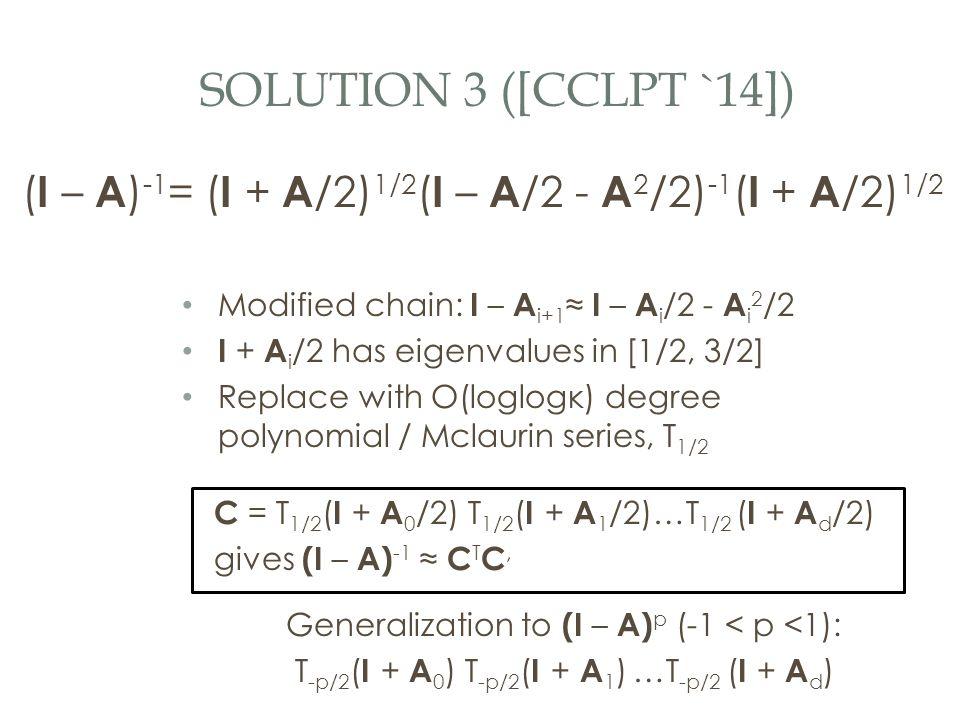 SOLUTION 3 ([CCLPT `14]) ( I – A ) -1 = ( I + A /2) 1/2 ( I – A /2 - A 2 /2) -1 ( I + A /2) 1/2 Modified chain: I – A i+1 ≈ I – A i /2 - A i 2 /2 I + A i /2 has eigenvalues in [1/2, 3/2] Replace with O(loglogκ) degree polynomial / Mclaurin series, T 1/2 C = T 1/2 ( I + A 0 /2) T 1/2 ( I + A 1 /2)…T 1/2 ( I + A d /2) gives (I – A) -1 ≈ C T C, Generalization to (I – A) p (-1 < p <1): T -p/2 ( I + A 0 ) T -p/2 ( I + A 1 ) …T -p/2 ( I + A d )