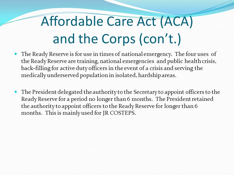 Assimilation Section 5209 of the ACA amended 42 USC § 204 deeming all officers classified as Reserve Corps and serving on active duty on 23 March 2010 to be officers of the Regular Corps.