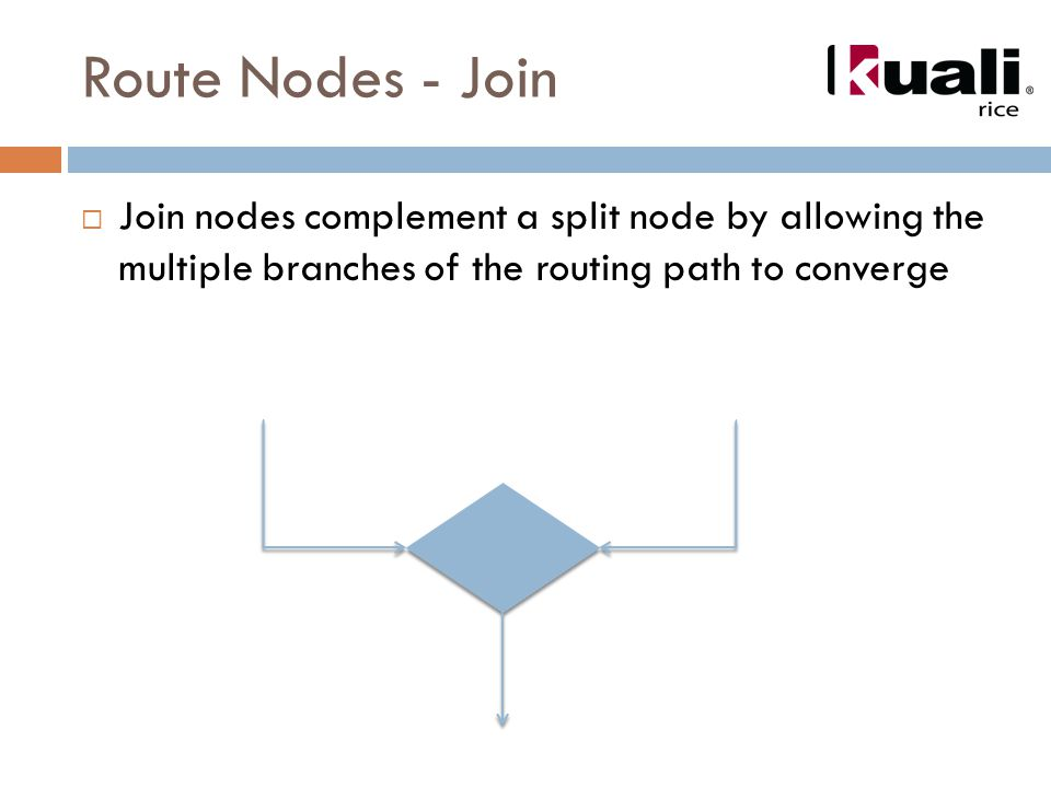Route Nodes - Join  Join nodes complement a split node by allowing the multiple branches of the routing path to converge