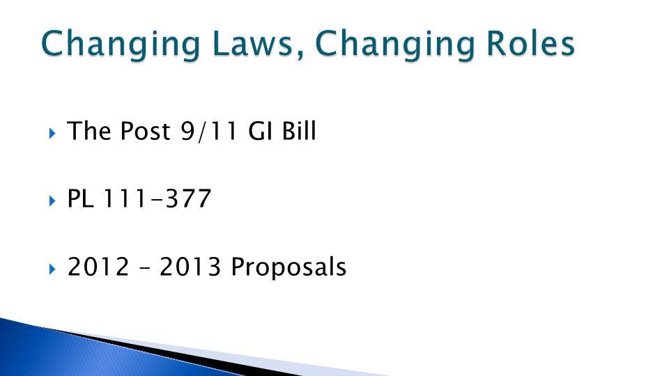  The Post 9/11 GI Bill  PL 111-377  2012 – 2013 Proposals