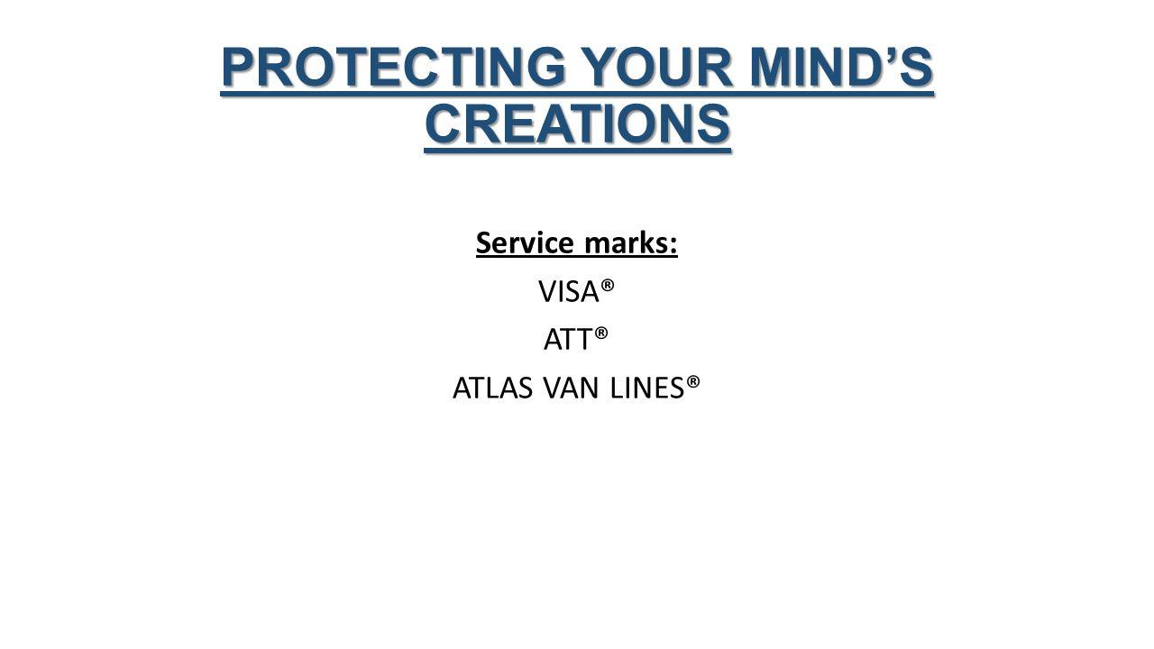 Service marks: VISA® ATT® ATLAS VAN LINES® PROTECTING YOUR MIND'S CREATIONS