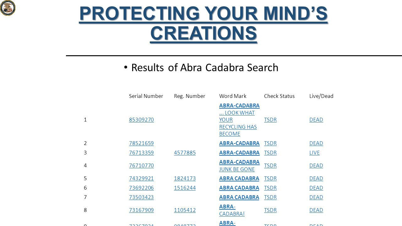 Results of Abra Cadabra Search PROTECTING YOUR MIND'S CREATIONS Curren t Search: S1: (Abra Cadabr a)[CO MB] docs: 9 occ: 34 Serial NumberReg.