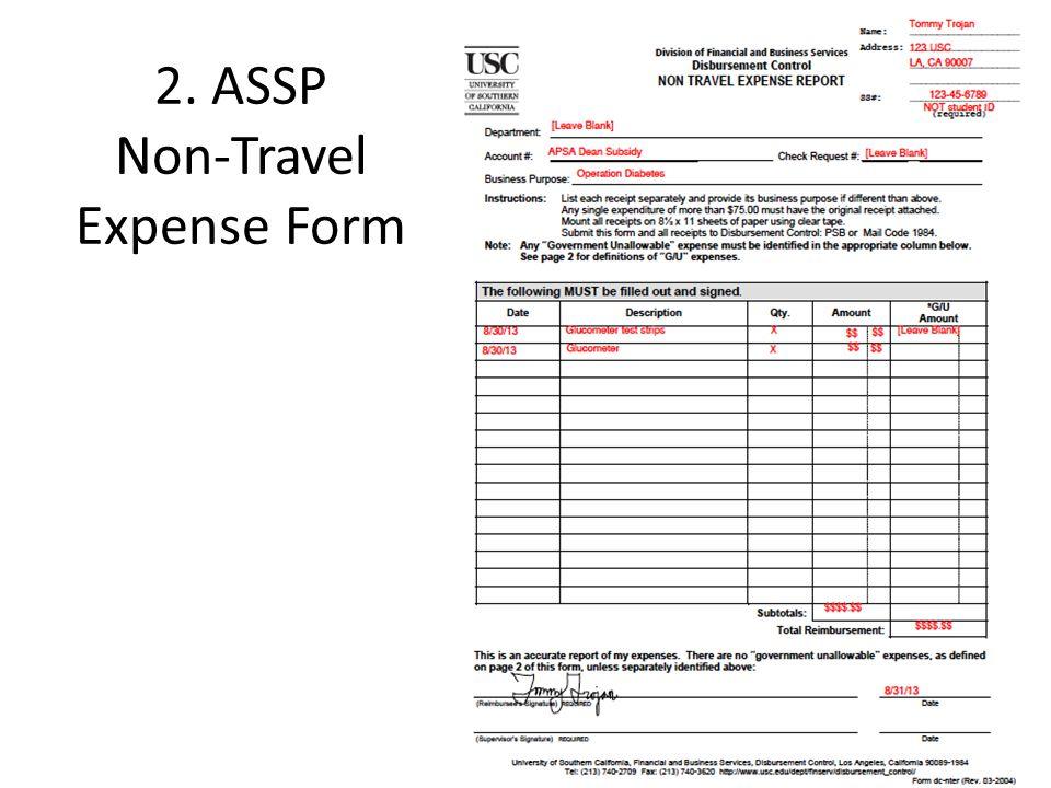 For Travel Expenses 5. ASSP Travel Expense Form