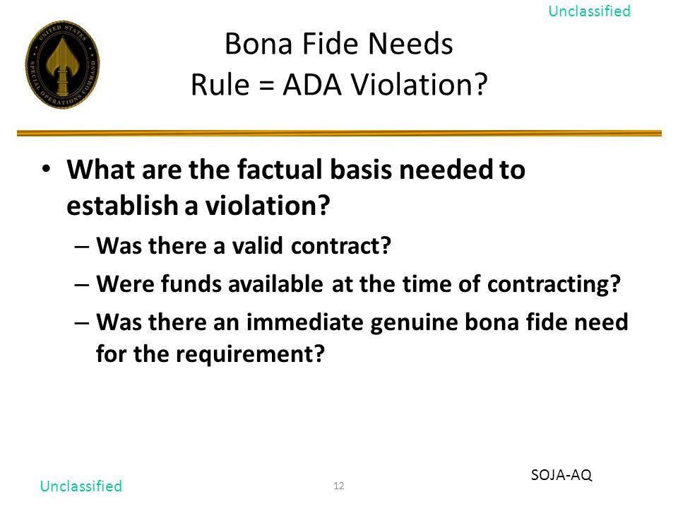 12 Bona Fide Needs Rule = ADA Violation.