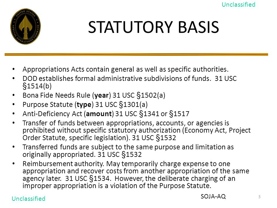 3 STATUTORY BASIS Appropriations Acts contain general as well as specific authorities.