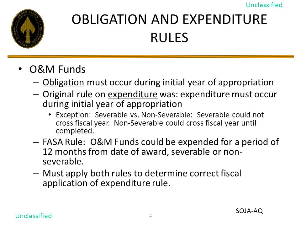 4 OBLIGATION AND EXPENDITURE RULES O&M Funds – Obligation must occur during initial year of appropriation – Original rule on expenditure was: expenditure must occur during initial year of appropriation Exception: Severable vs.