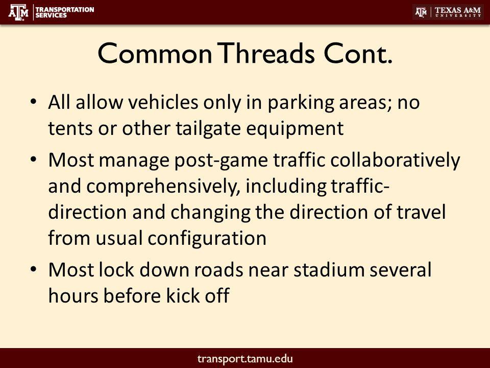 transport.tamu.edu Common Threads Cont.