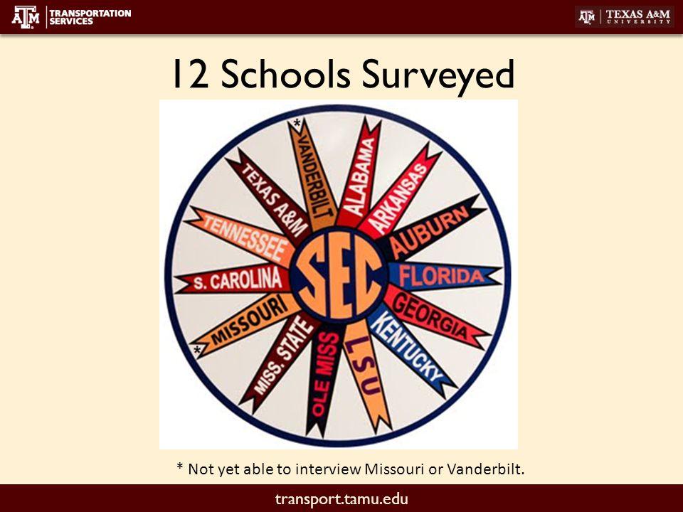 transport.tamu.edu 12 Schools Surveyed * Not yet able to interview Missouri or Vanderbilt.