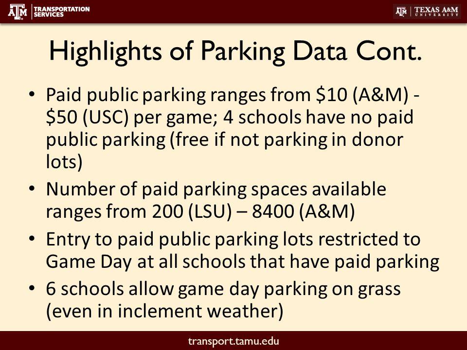transport.tamu.edu Highlights of Parking Data Cont.