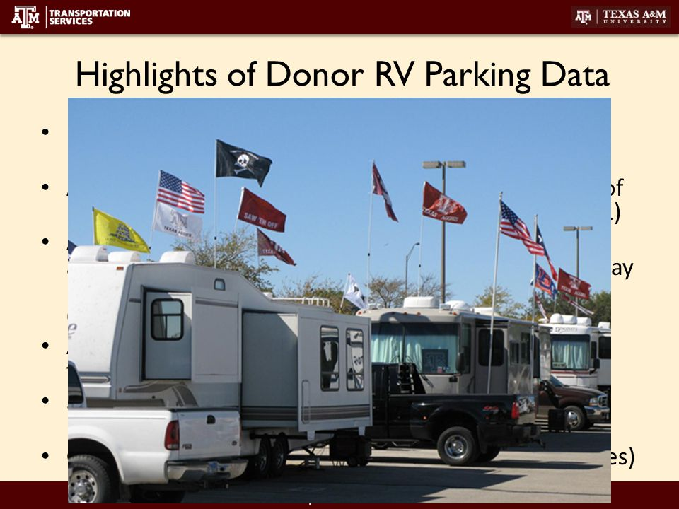 transport.tamu.edu Highlights of Donor RV Parking Data 10 of 12 school provide RV parking for donors (UA & USC) Athletic Dept.