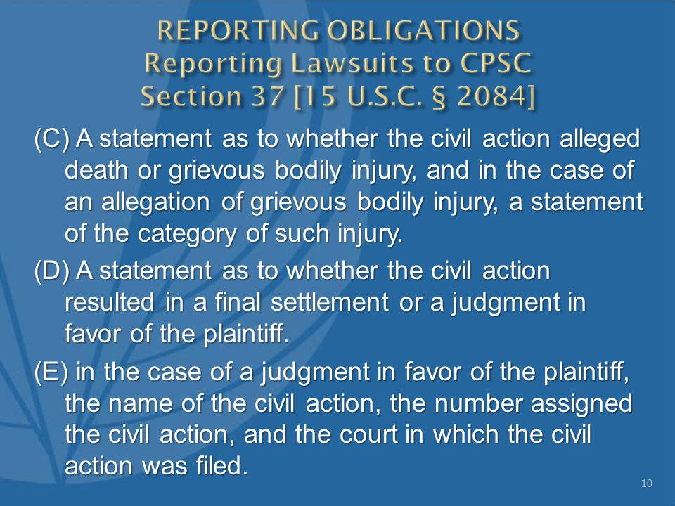 (C) A statement as to whether the civil action alleged death or grievous bodily injury, and in the case of an allegation of grievous bodily injury, a