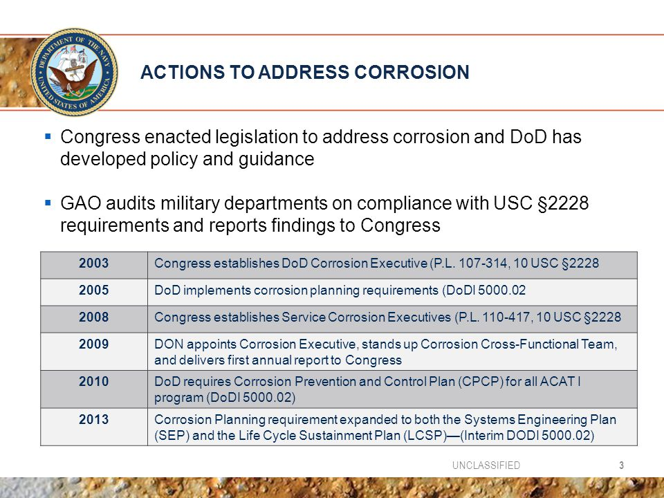 ACTIONS TO ADDRESS CORROSION  Congress enacted legislation to address corrosion and DoD has developed policy and guidance  GAO audits military departments on compliance with USC §2228 requirements and reports findings to Congress 3UNCLASSIFIED 2003Congress establishes DoD Corrosion Executive (P.L.
