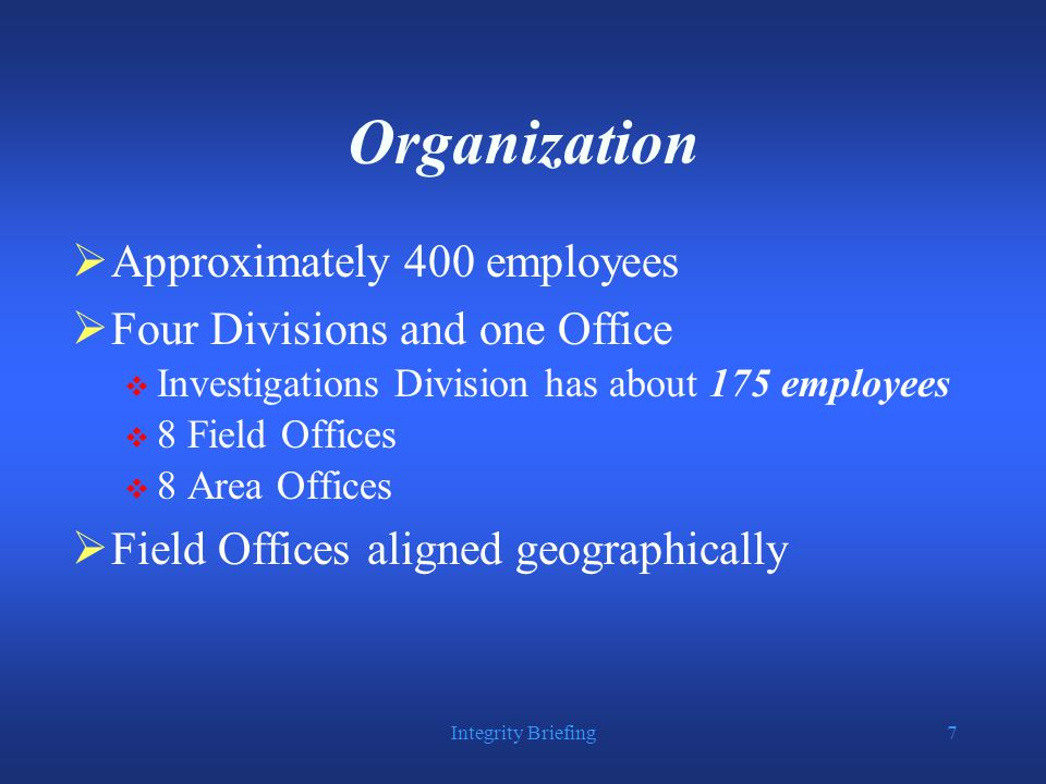 Integrity Briefing58 Reporting Allegations  DOJ employees have a duty to report misconduct and allegations of criminality to the OIA and/or the OIG  DOJ employees have an obligation to cooperate fully with the OIG when told that their statements will not be used against them in any criminal proceeding  Criminal and civil liability